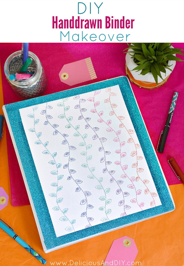 Customize your Back To School Supplies by using a few simple items such as the Pilot Pen Precise Deco Pens and create this Hand drawn Binder Makeover| School Supplies Makeover| DIY Craft Projects| Back to School Craft Ideas| Hand drawn Vines| #PowerToThePen #MyGo2Pen #ad