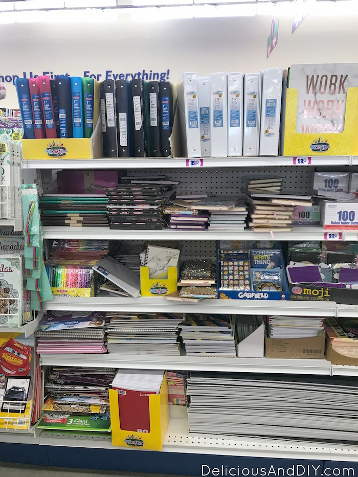 binder aisle in the dollar store aisle