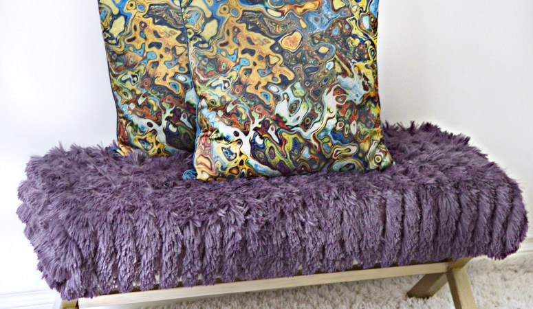 Bench Makeover Using a Throw Blanket