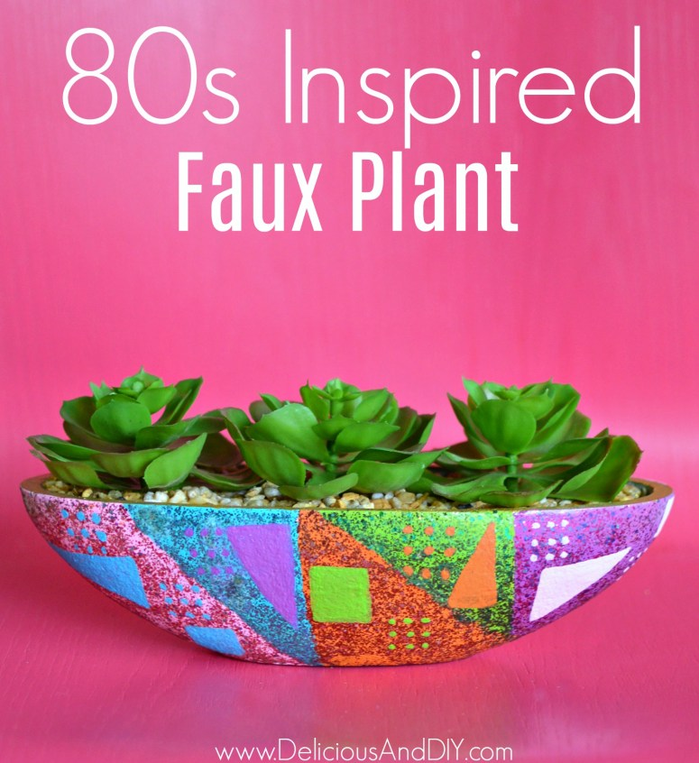 Update a plain faux plant using Glitter Paint and 80s Inspired Pattern| 80s Inspired Pattern on a Faux Plant| Home Decor| DIY Crafts| Geometric Faux Plant| Painted Faux Plant| Dollar Store Faux Plant Update