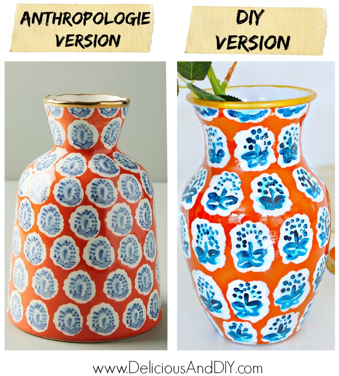 A side by side comparison of an Anthropologies Vase versus DIY Painted Dollar Store Vase