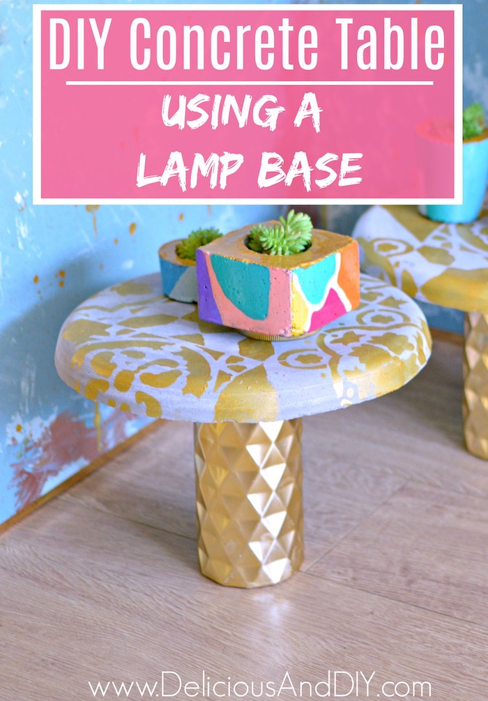 Upcycle an old thrifted lamp and use it to create a gorgeous Concrete Side Table| Create a beautiful Concrete Table for your outdoor or living room space just by using a Lamp base