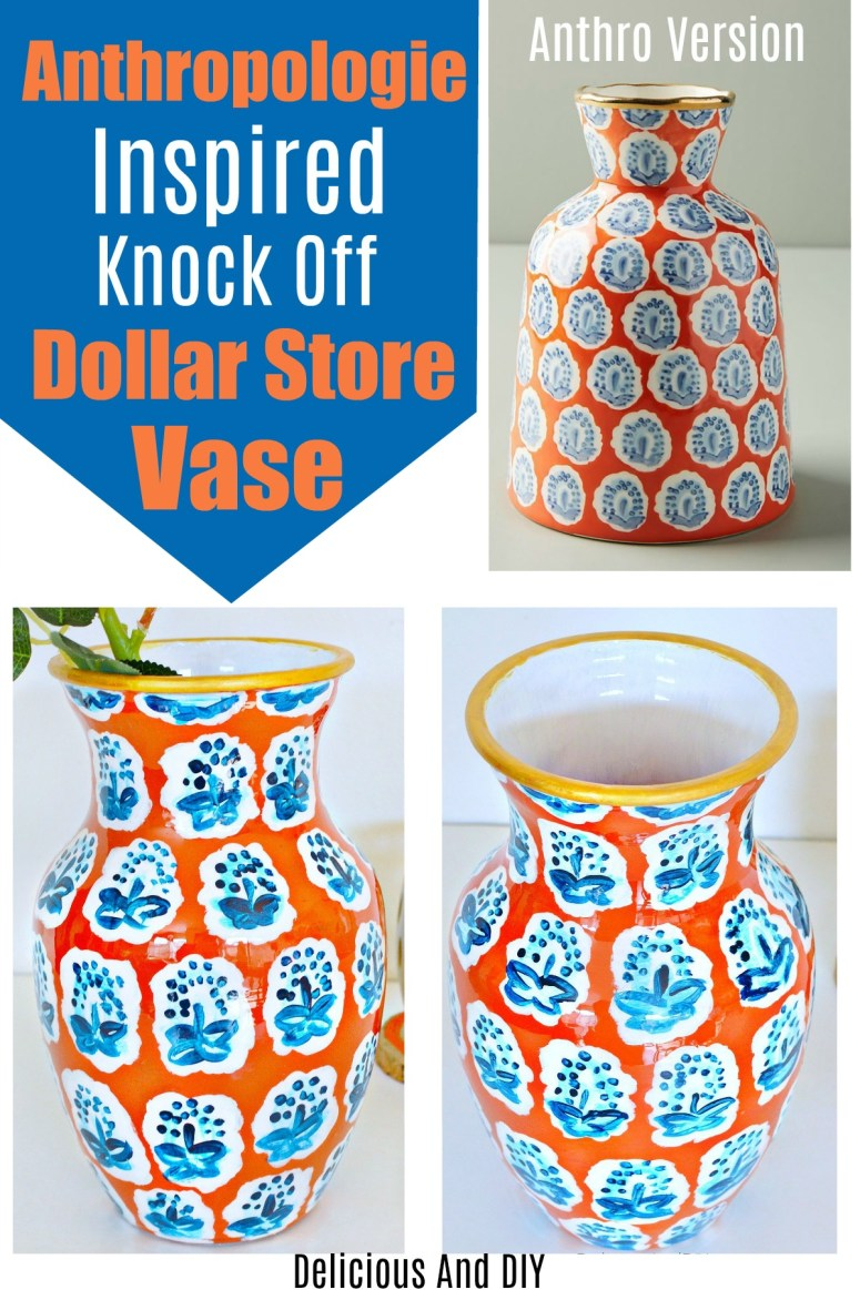 A before and after picture of Anthropologie Inspired Vase using a Dollar Store Vase