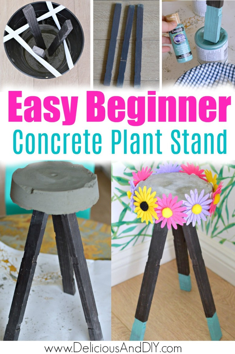 A beginner friendly tutorial to create a DIY concrete plant stand using wood legs which is customized by adding colorful flowers all around the concrete top