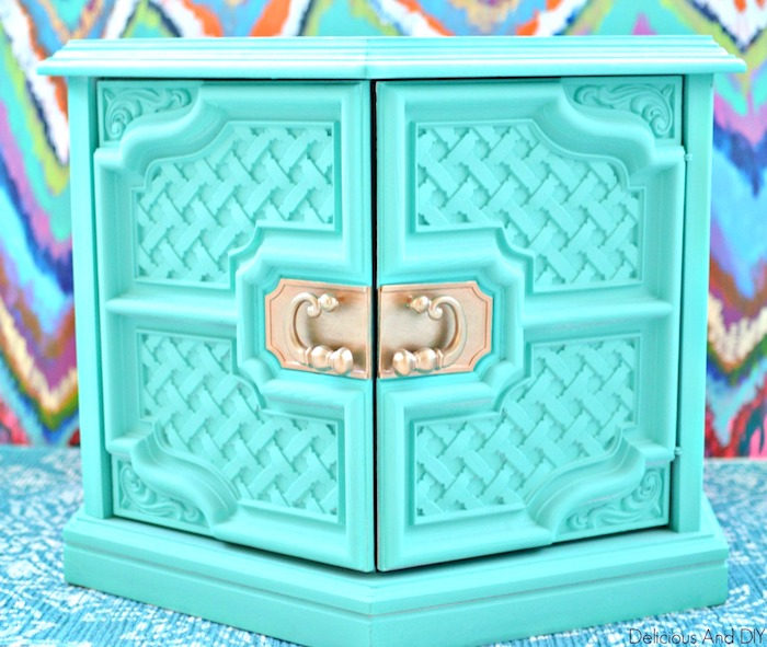 Hexagon Shaped Coffee Table with Lattice Work on the front painted Turquoise