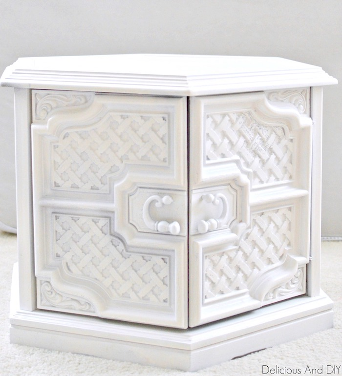Hexagon Shaped Coffee Table spray painted white