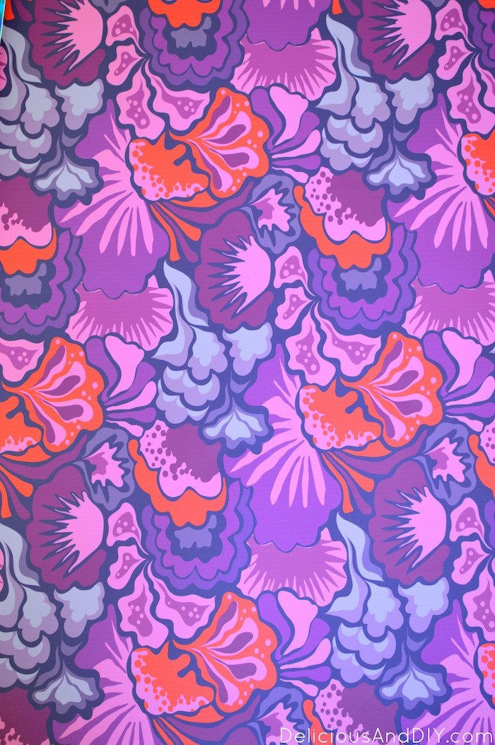 Purple floral Peel and Stick Wallpaper