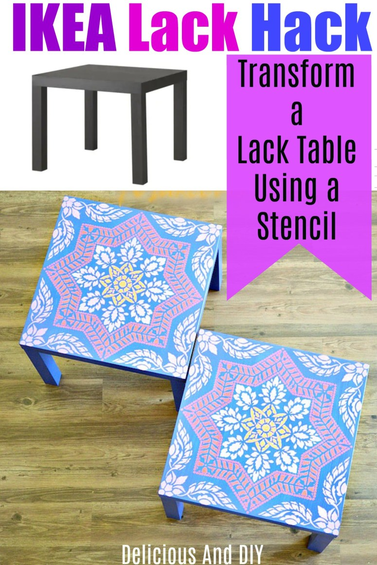 Ikea lack table transformed using a stencil and paints