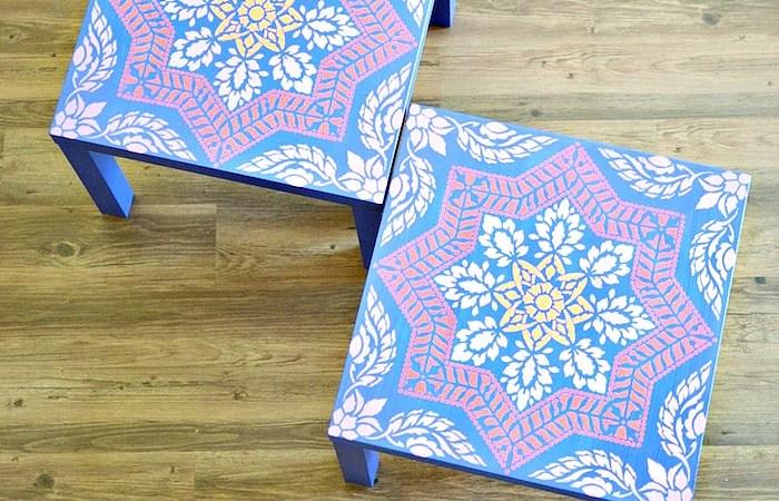 Ikea Lack Table Makeover Using a Stencil