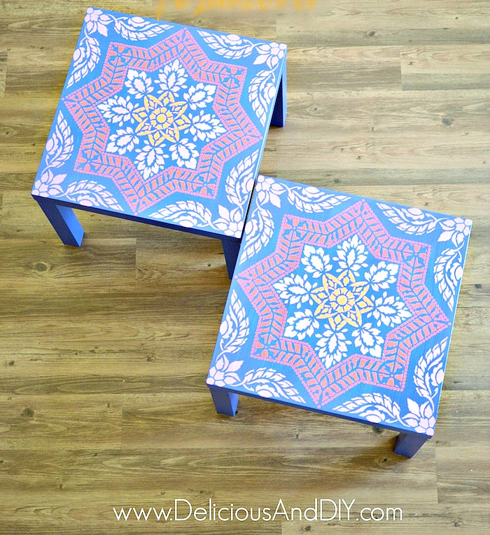 Two Stenciled IKEA Lack Tables