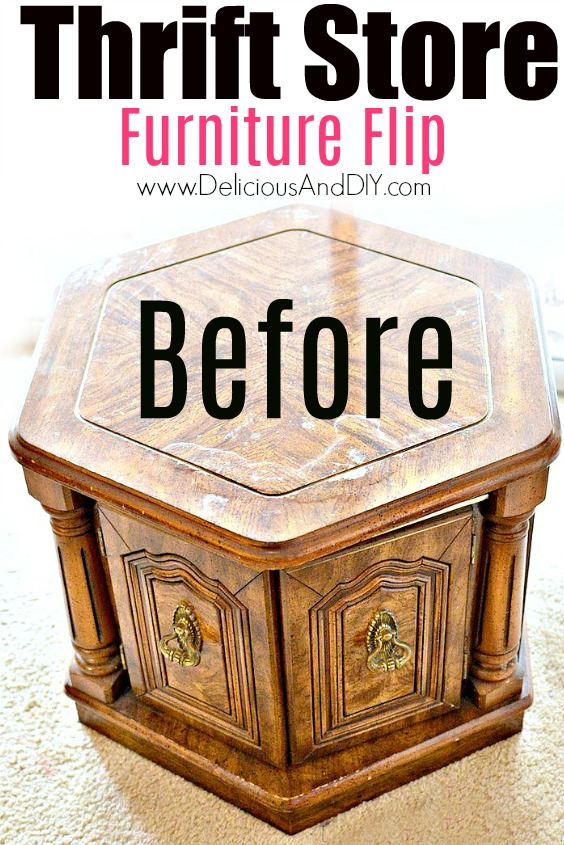A picture of a Thrift Store Coffee Table Before the Transformation