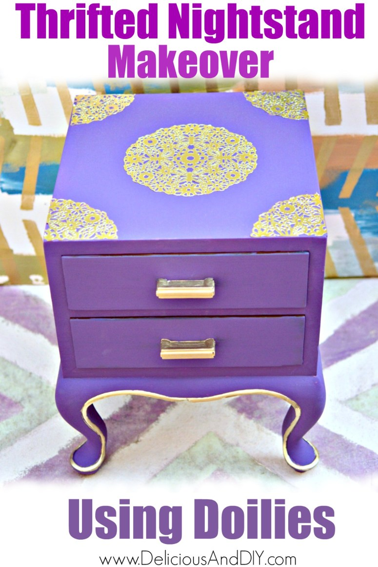 Purple painted thrifted Nightstand with Gold Doily decoupaged