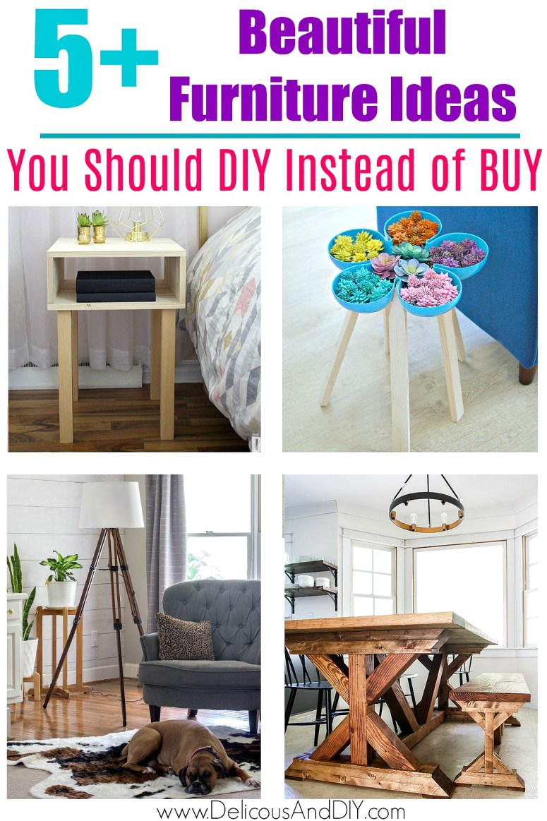 a collage of diy furniture projects you should diy instead of Buy
