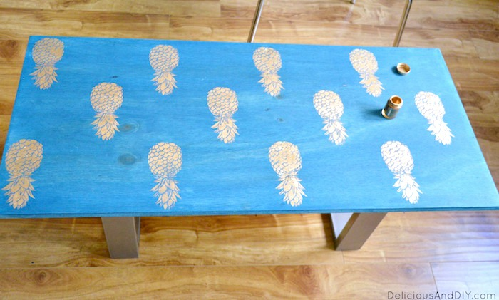 Outdoor Bench Stained and Stenciled