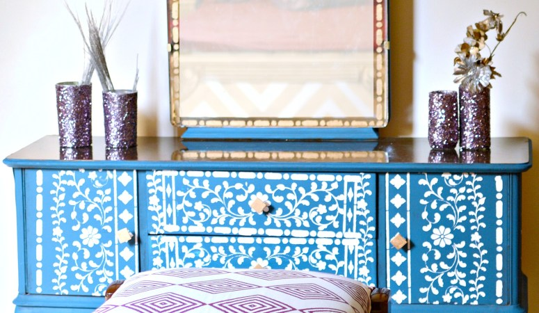 DIY Vanity Dresser Makeover Using Bone Inlay Stencil
