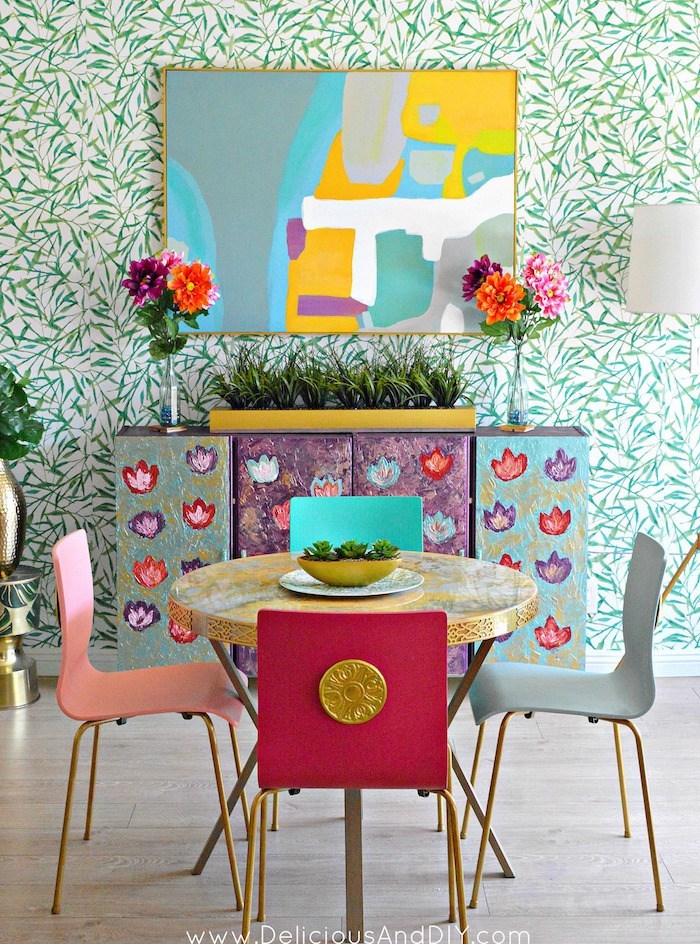 Colorful Dining Room Makeover on a Budget