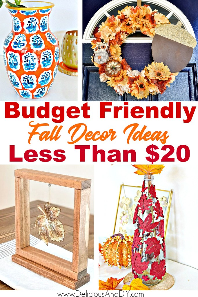 budget friendly fall crafts including a wreath, vase and decor item
