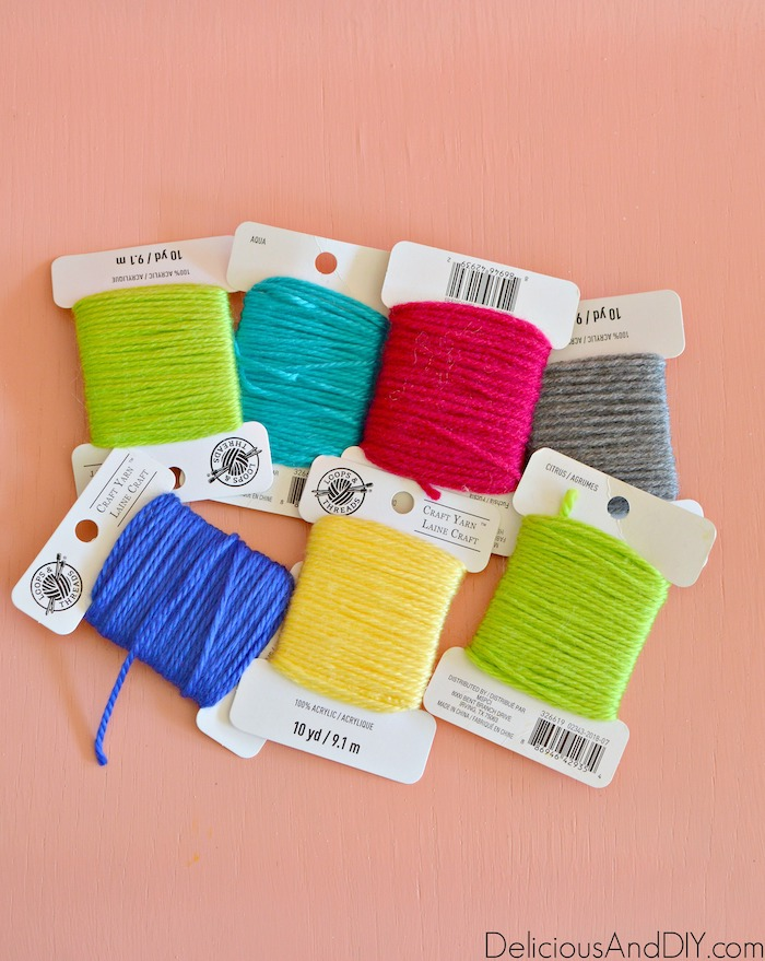 colorful yarn to be used in the epoxy resin wood serving tray