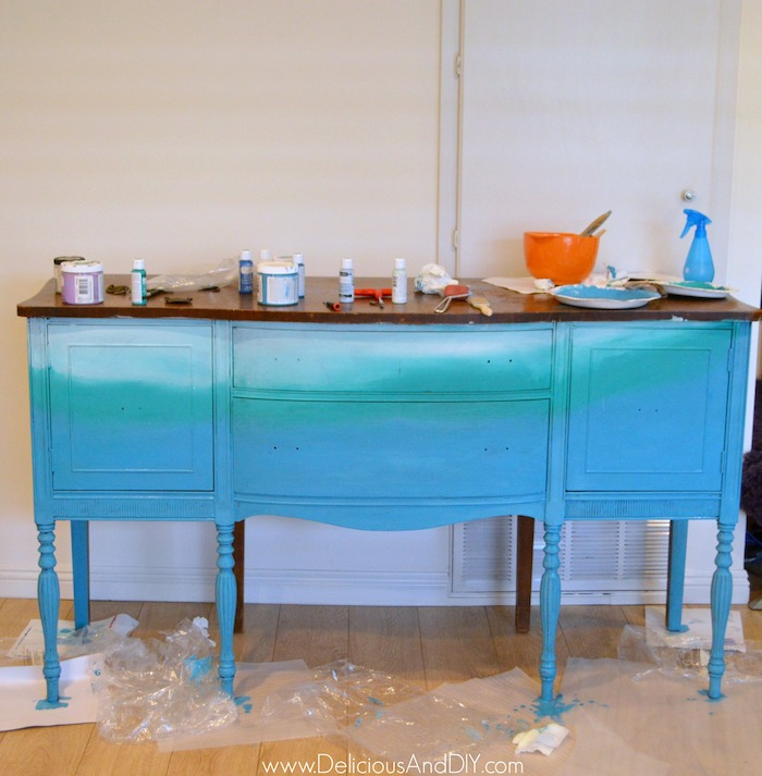 Layering the buffet table with the third color which is light blue