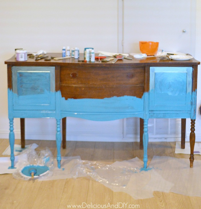 Painting the buffet Table with darker blue color