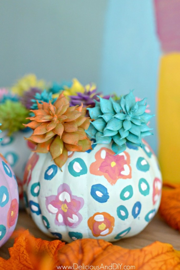 painted chalky finish pumpkins