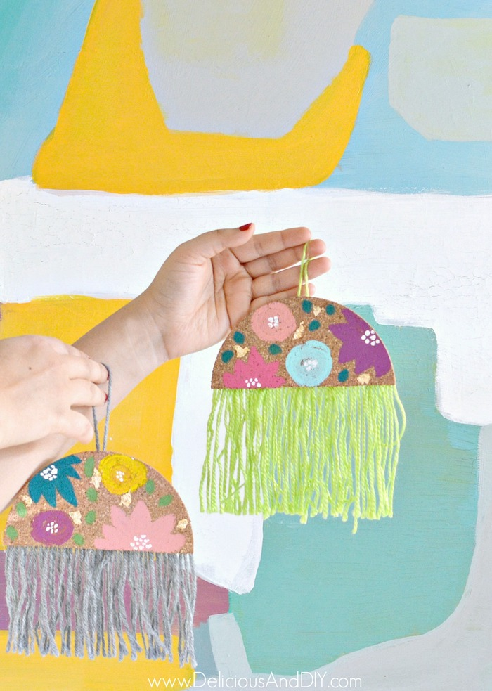 floral hand painted yarn ornaments