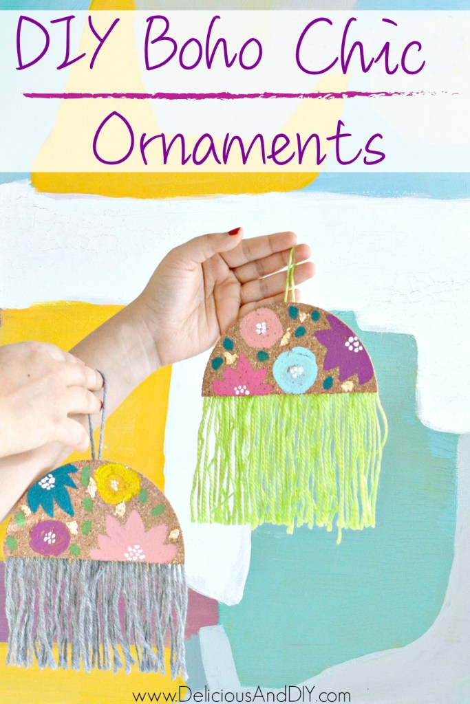hand painted floral diy ornaments