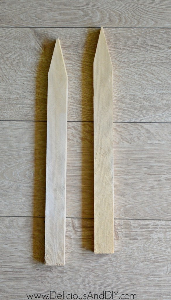 wooden stakes to make wreath