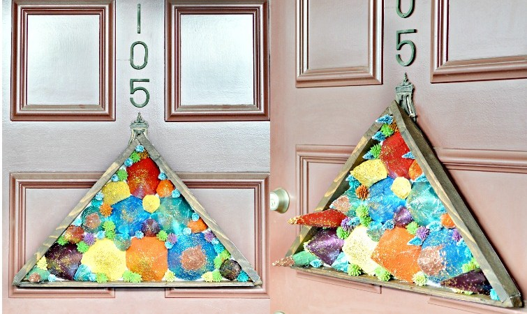 triangle shaped door decor made out of paper cones