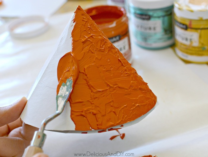 painting paper cone with texture paints