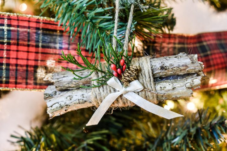 Rustic Log Bundle DIY Ornament