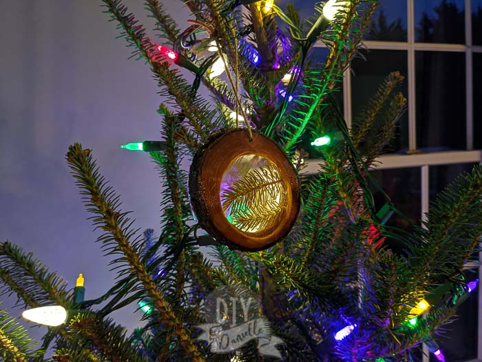 DIY Wood Slice Ornament Made from Your Christmas Tree