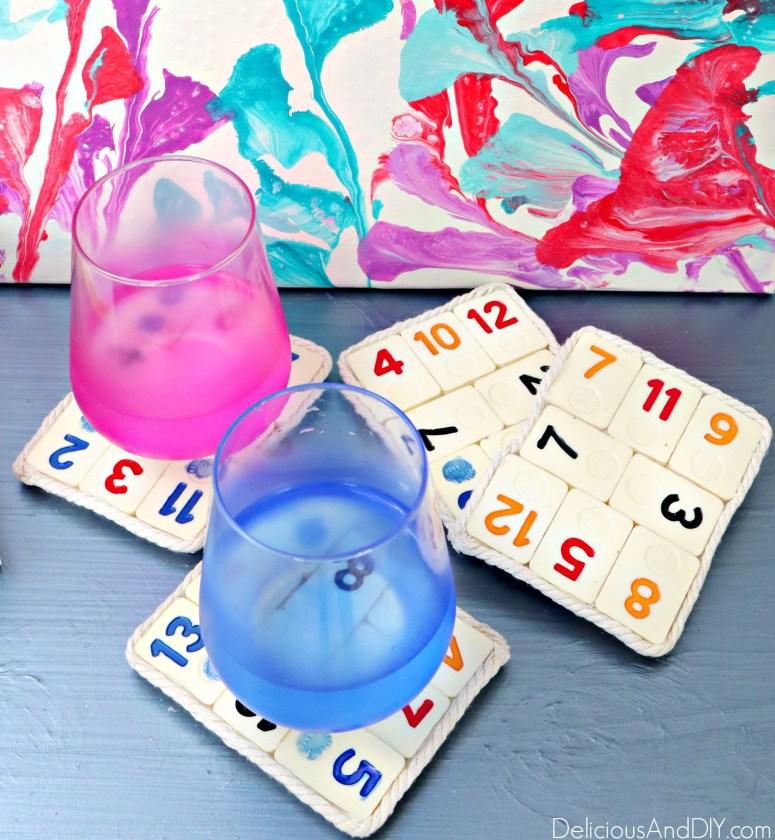diy board game coasters made with hot glue gun