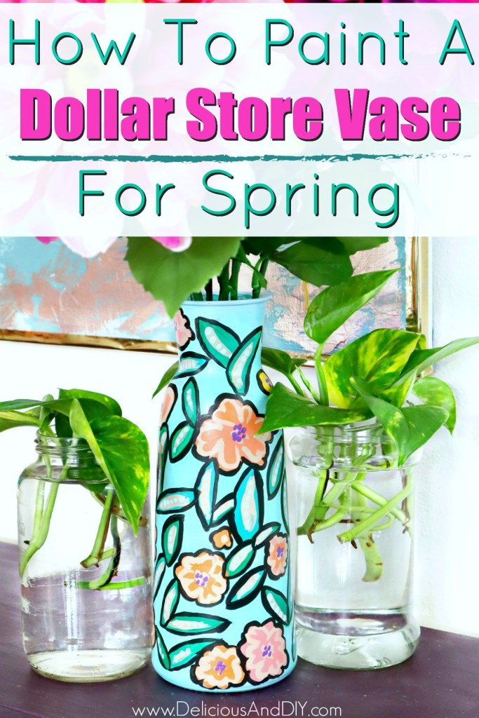 painted dollar store floral vase