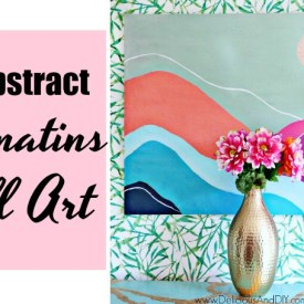 abstract painted wall art with colorful mountain layers
