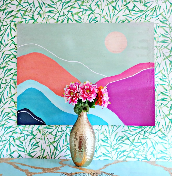painted wall art mountains