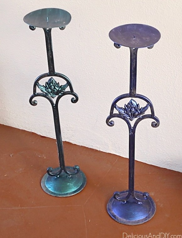 repurposed candlestick stands