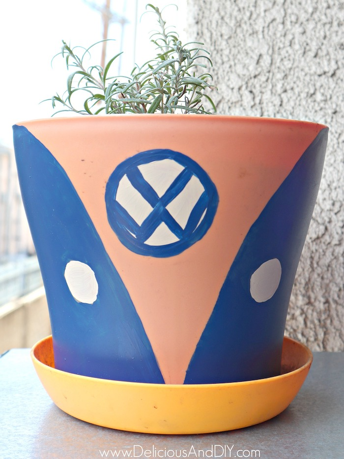 blue color painted terra cotta pots for outdoors