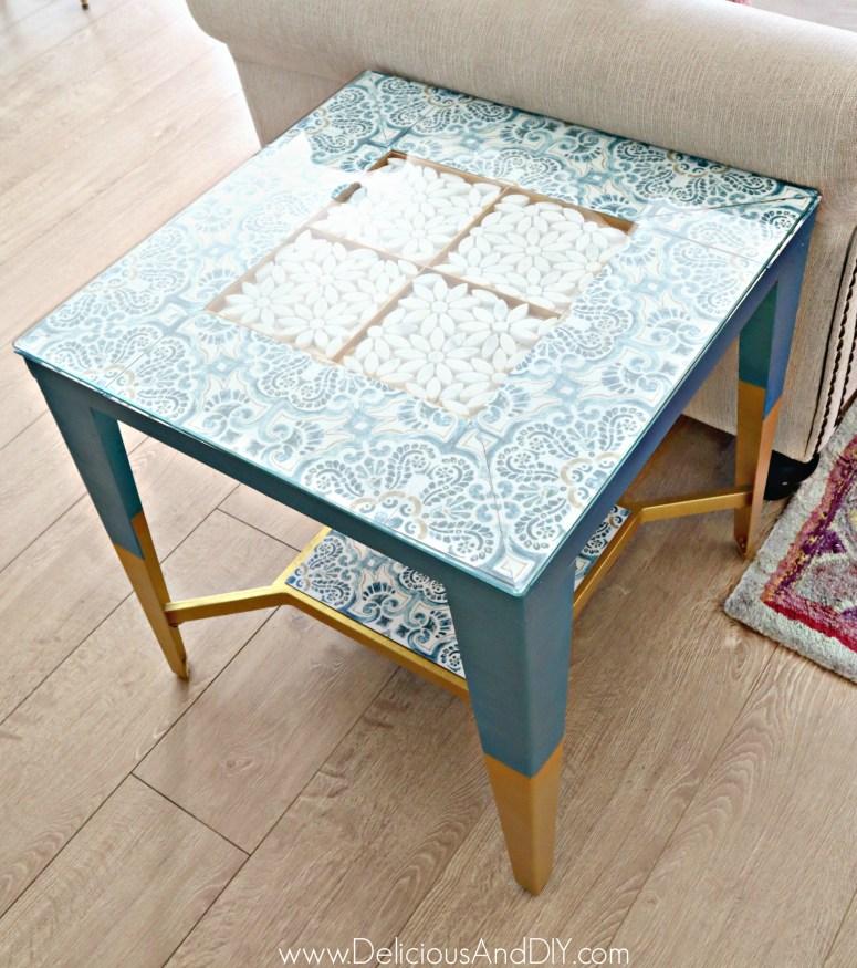 table makeover using flooring tiles