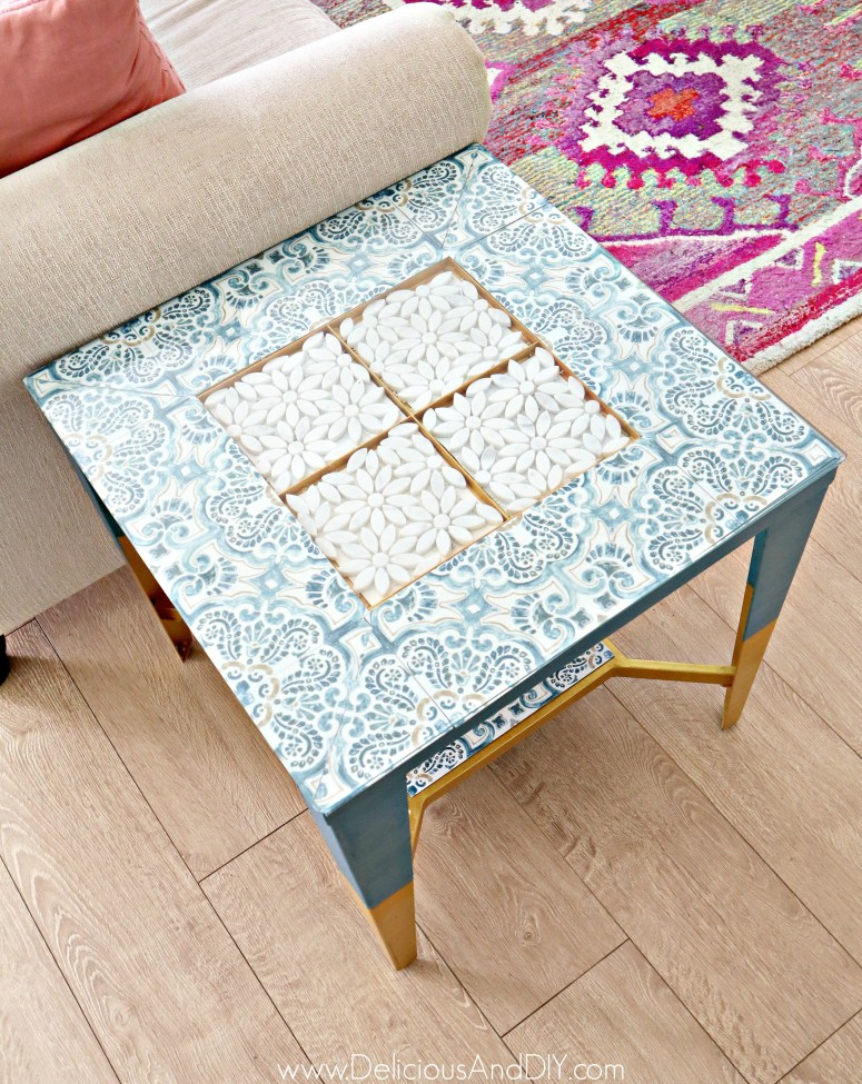 peel and stick removable tiles table makeover