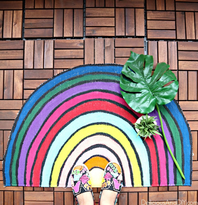 colorful rainbow inspired rug