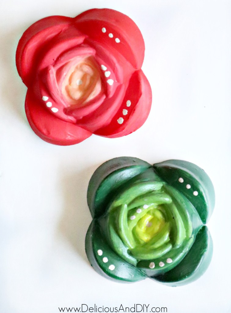 Rose Ombre and Green Ombre Painted Resin Rose Magnets