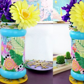how to decorate empty bottle with flower pattern