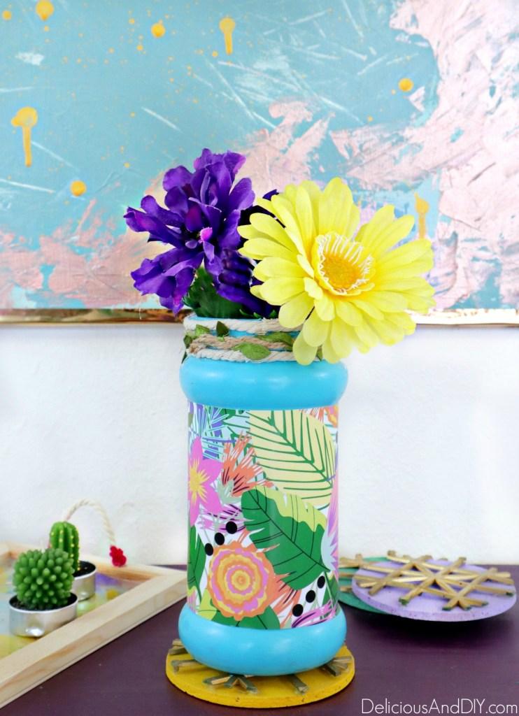 painted floral empty vase bottle
