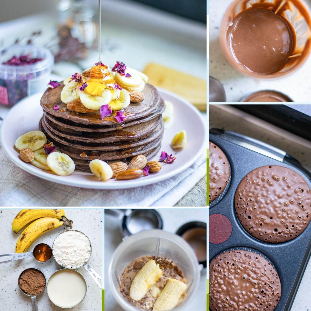 how to make chocolate banana pancakes collage