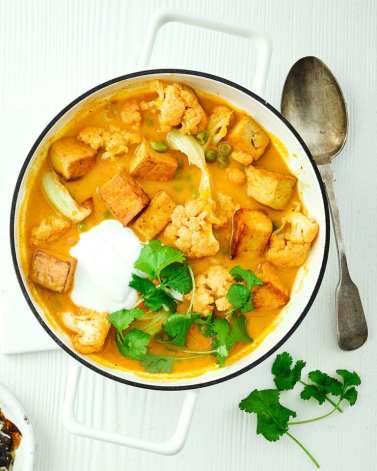 a bowl of tofu and cauliflower curry with fresh coriander as a garnish