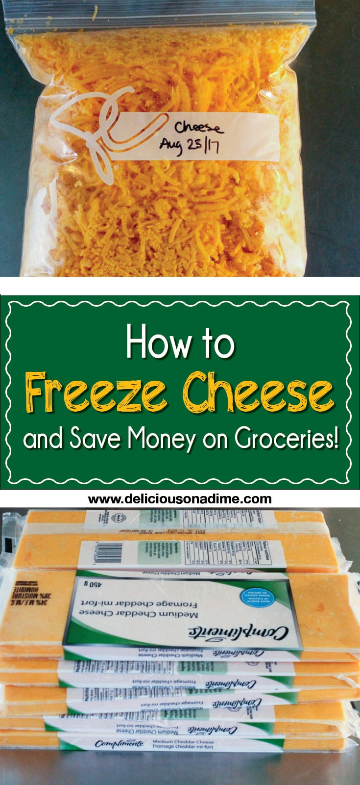 "This quick and easy tip is for any of you who ever wondered, ""Hmmmm... can you freeze cheese?"" Yes, you can freeze cheese, and it's awesome. How to freeze cheese and save money on groceries."