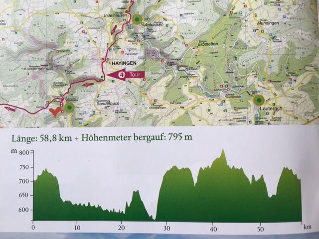 Höhenprofil Tour 4 durch das Große Lautertal