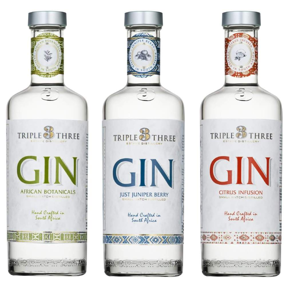 Triple Three Gin aus Südafrika (Weingut Blaauwklippen)