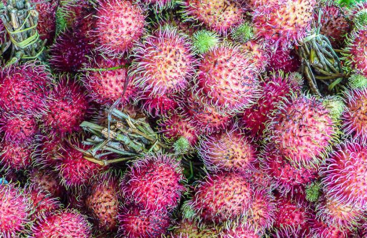 Rambutan sieht der Litschi nicht nur ähnlich, schmeckt auch so